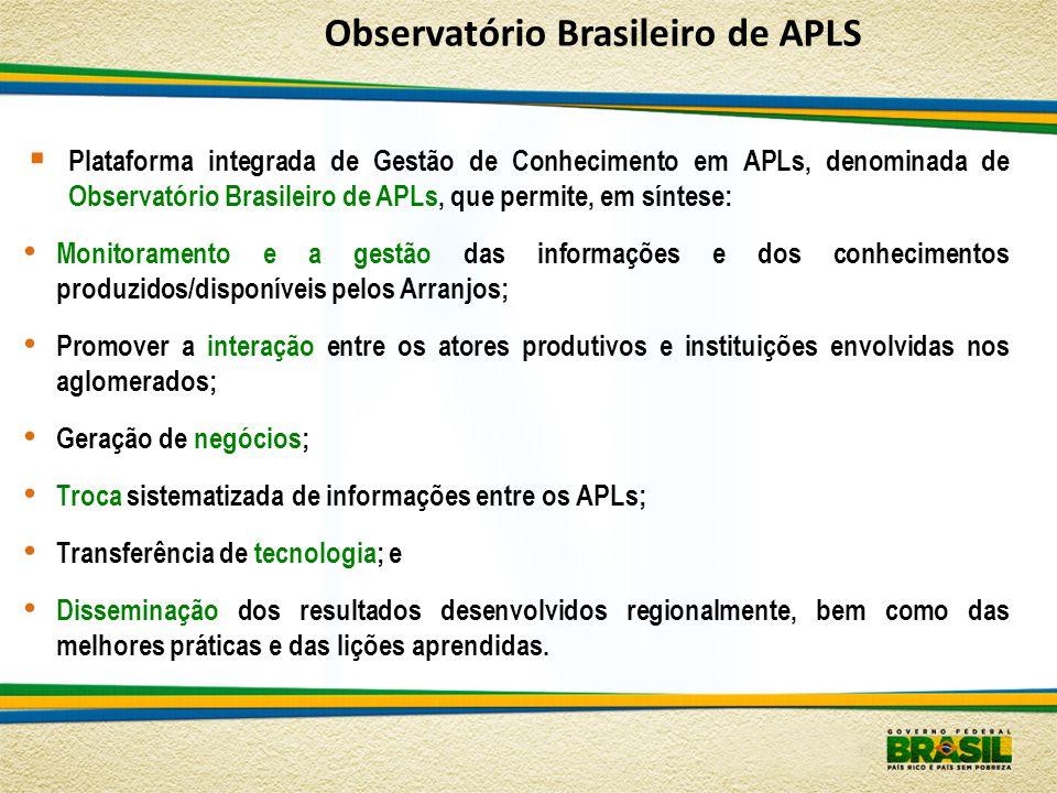 Plataforma integrada de Gestão de Conhecimento em APLs, denominada de Observatório Brasileiro de APLs, que permite, em síntese: Monitoramento e a gest