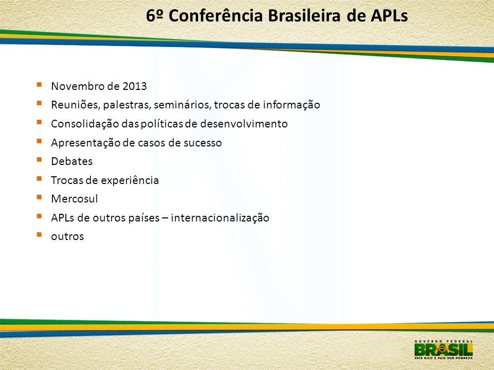 Novembro de 2013 Reuniões, palestras, seminários, trocas de informação Consolidação das políticas de desenvolvimento Apresentação de casos de sucesso