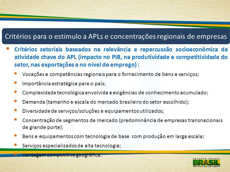 Critérios para o estímulo a APLs e concentrações regionais de empresas Critérios setoriais baseados na relevância e repercussão socioeconômica da ativ