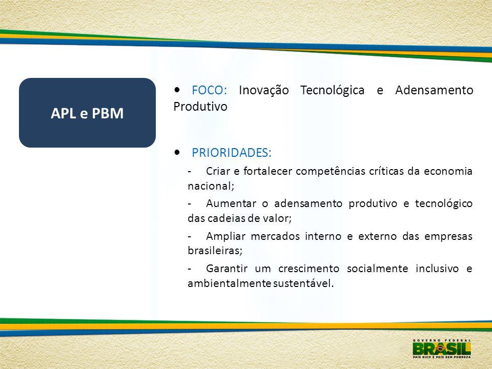 APL e PBM FOCO: Inovação Tecnológica e Adensamento Produtivo PRIORIDADES: -Criar e fortalecer competências críticas da economia nacional; -Aumentar o