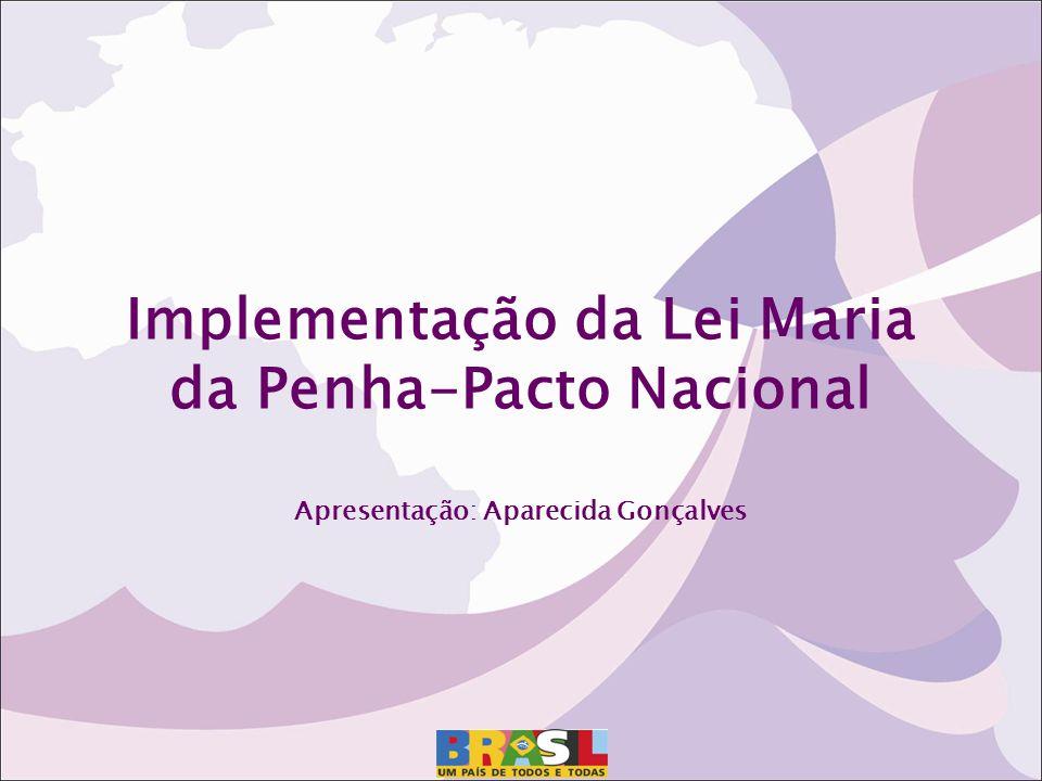 Implementação da Lei Maria da Penha-Pacto Nacional Apresentação: Aparecida Gonçalves
