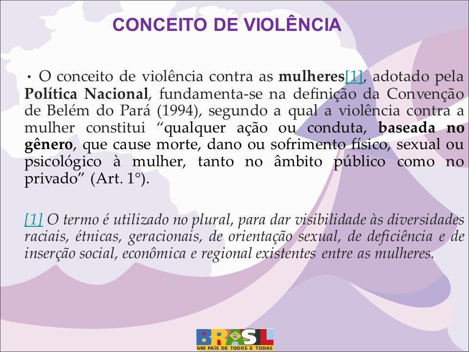 CONCEITO DE VIOLÊNCIA O conceito de violência contra as mulheres[1], adotado pela Política Nacional, fundamenta-se na definição da Convenção de Belém