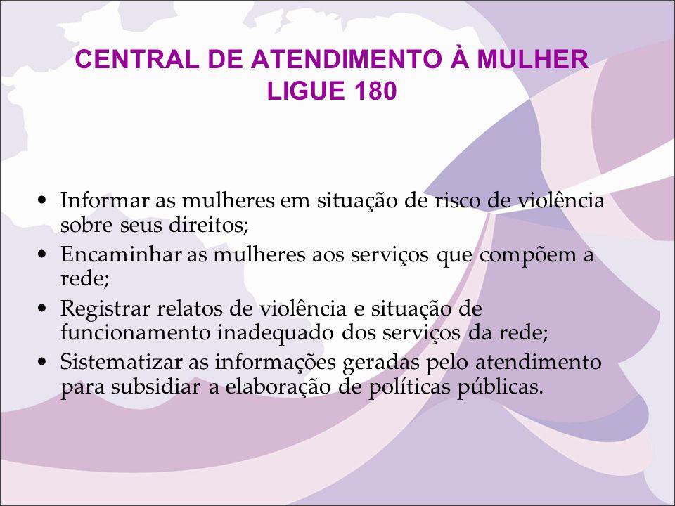 CENTRAL DE ATENDIMENTO À MULHER LIGUE 180 Informar as mulheres em situação de risco de violência sobre seus direitos; Encaminhar as mulheres aos servi