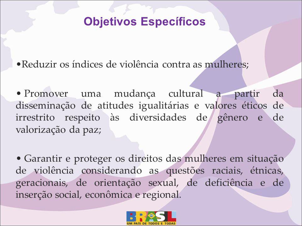 Reduzir os índices de violência contra as mulheres; Promover uma mudança cultural a partir da disseminação de atitudes igualitárias e valores éticos d