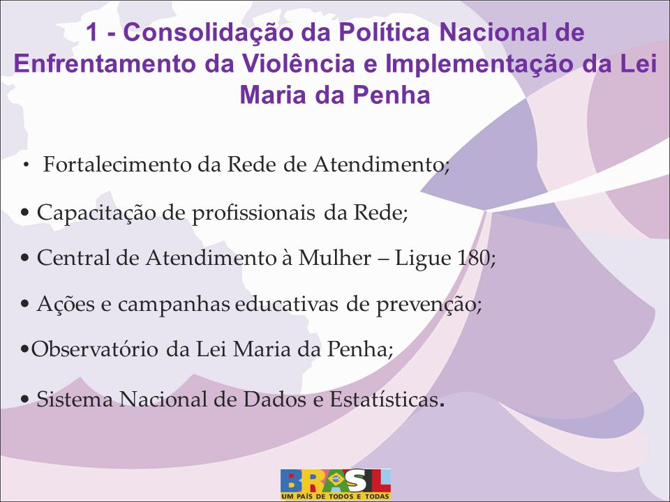 Fortalecimento da Rede de Atendimento; Capacitação de profissionais da Rede; Central de Atendimento à Mulher – Ligue 180; Ações e campanhas educativas