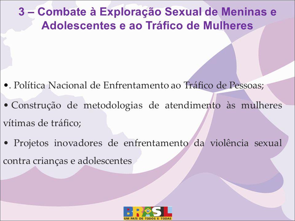 . Política Nacional de Enfrentamento ao Tráfico de Pessoas; Construção de metodologias de atendimento às mulheres vítimas de tráfico; Projetos inovado