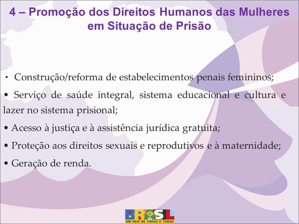 Construção/reforma de estabelecimentos penais femininos; Serviço de saúde integral, sistema educacional e cultura e lazer no sistema prisional; Acesso