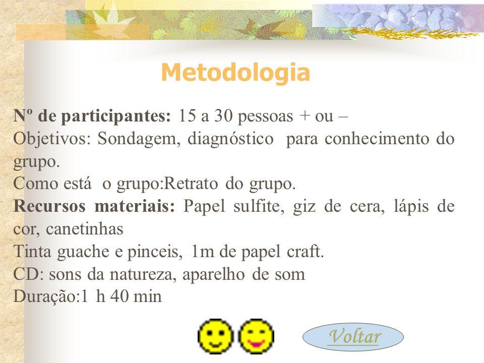 Metodologia Nº de participantes: 15 a 30 pessoas + ou – Objetivos: Sondagem, diagnóstico para conhecimento do grupo.