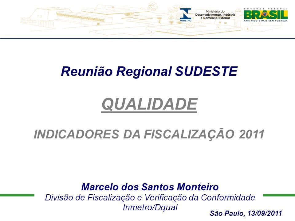 Marcelo dos Santos Monteiro Divisão de Fiscalização e Verificação da Conformidade Inmetro/Dqual Reunião Regional SUDESTE QUALIDADE INDICADORES DA FISCALIZAÇÃO 2011 São Paulo, 13/09/2011