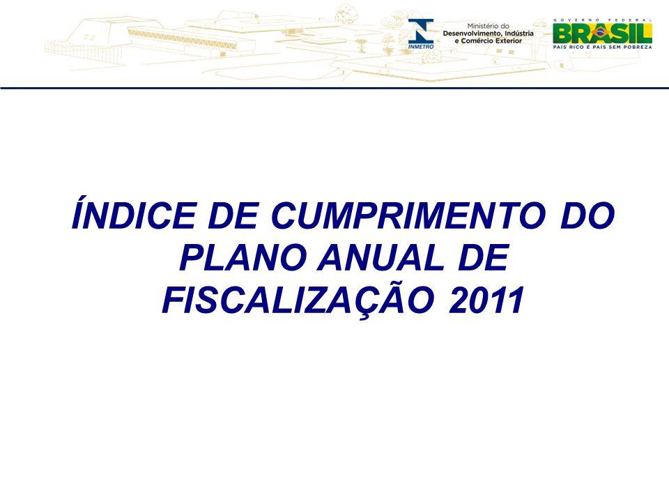 ÍNDICE DE CUMPRIMENTO DO PLANO ANUAL DE FISCALIZAÇÃO 2011 – ESPÍRITO SANTO