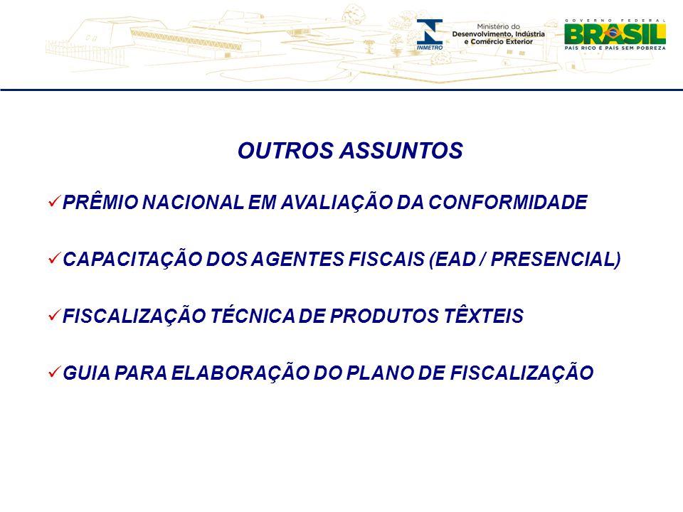 OUTROS ASSUNTOS PRÊMIO NACIONAL EM AVALIAÇÃO DA CONFORMIDADE CAPACITAÇÃO DOS AGENTES FISCAIS (EAD / PRESENCIAL) FISCALIZAÇÃO TÉCNICA DE PRODUTOS TÊXTEIS GUIA PARA ELABORAÇÃO DO PLANO DE FISCALIZAÇÃO