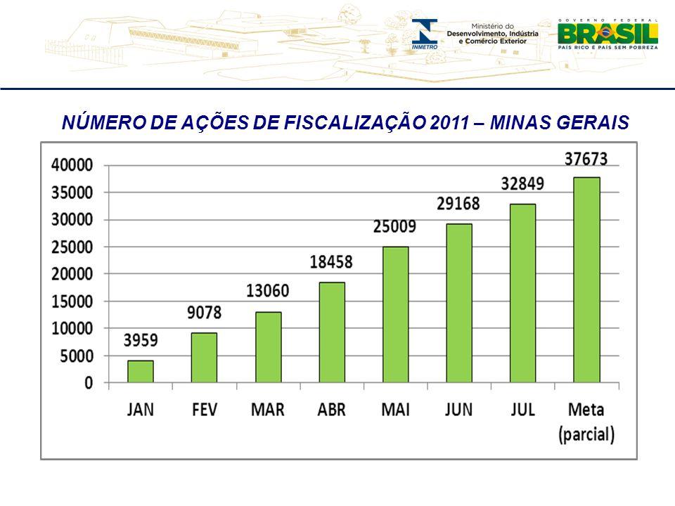 NÚMERO DE AÇÕES DE FISCALIZAÇÃO 2011 – MINAS GERAIS