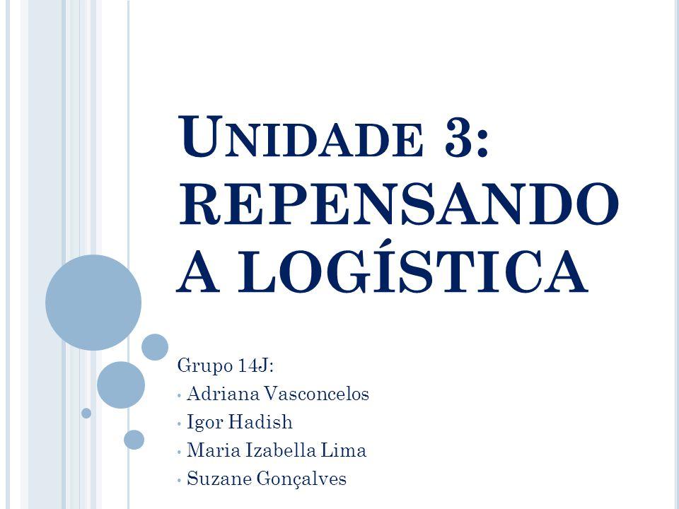 U NIDADE 3: REPENSANDO A LOGÍSTICA Grupo 14J: Adriana Vasconcelos Igor Hadish Maria Izabella Lima Suzane Gonçalves