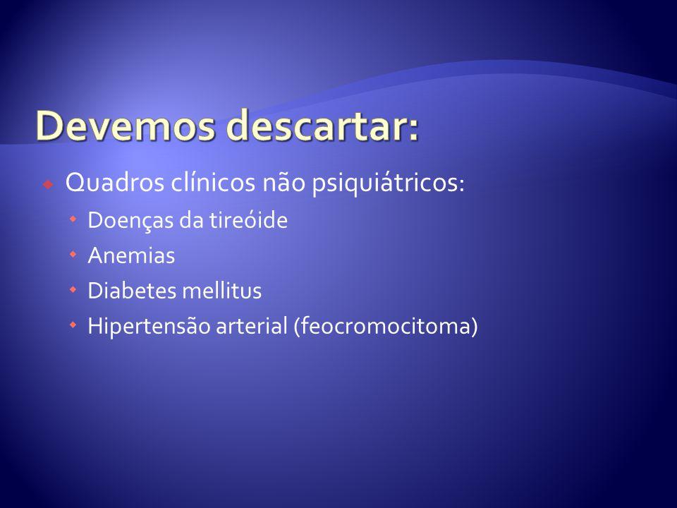 Quadros clínicos não psiquiátricos: Doenças da tireóide Anemias Diabetes mellitus Hipertensão arterial (feocromocitoma)