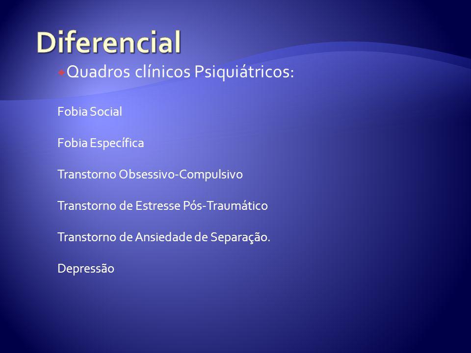Quadros clínicos Psiquiátricos: Fobia Social Fobia Específica Transtorno Obsessivo-Compulsivo Transtorno de Estresse Pós-Traumático Transtorno de Ansiedade de Separação.