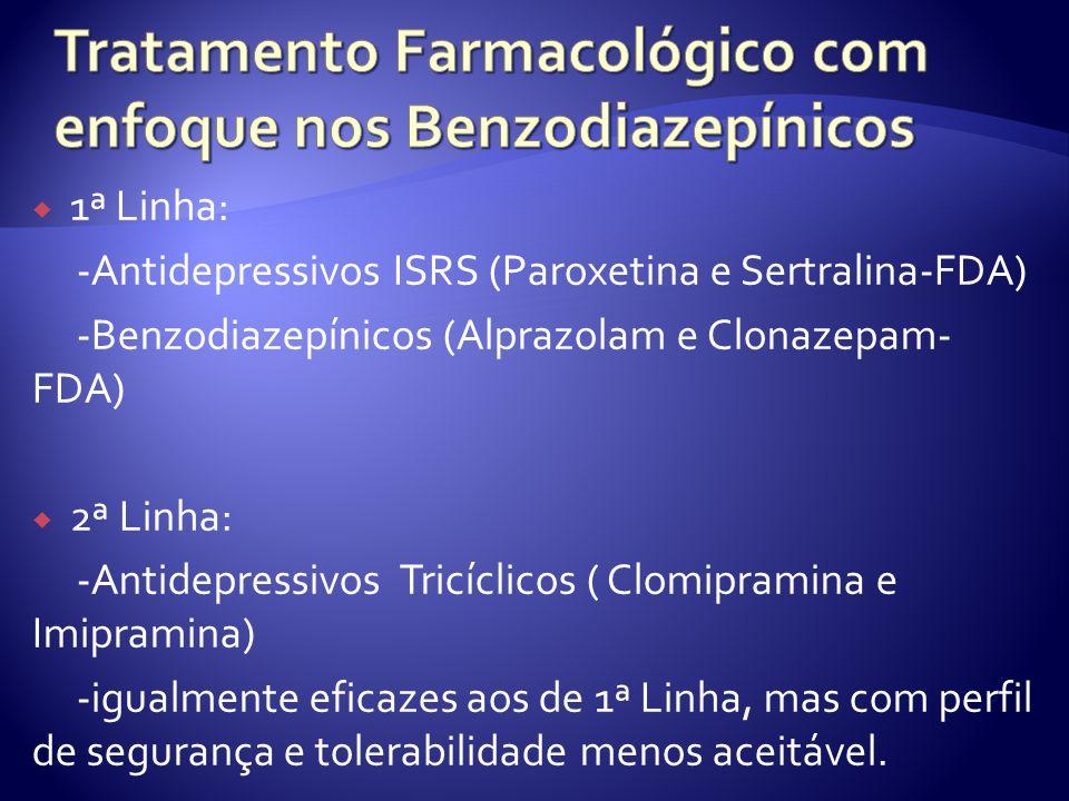 1ª Linha: -Antidepressivos ISRS (Paroxetina e Sertralina-FDA) -Benzodiazepínicos (Alprazolam e Clonazepam- FDA) 2ª Linha: -Antidepressivos Tricíclicos ( Clomipramina e Imipramina) -igualmente eficazes aos de 1ª Linha, mas com perfil de segurança e tolerabilidade menos aceitável.