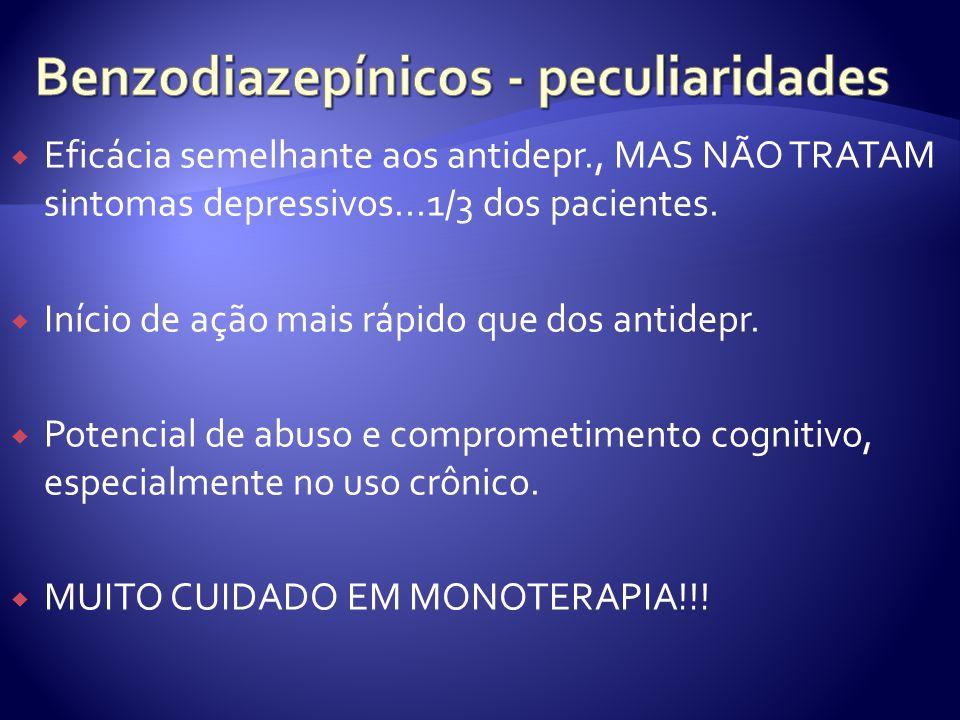Eficácia semelhante aos antidepr., MAS NÃO TRATAM sintomas depressivos...1/3 dos pacientes. Início de ação mais rápido que dos antidepr. Potencial de