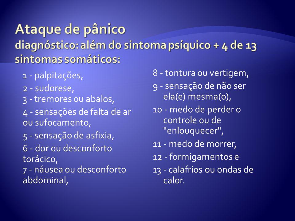 1 - palpitações, 2 - sudorese, 3 - tremores ou abalos, 4 - sensações de falta de ar ou sufocamento, 5 - sensação de asfixia, 6 - dor ou desconforto torácico, 7 - náusea ou desconforto abdominal, 8 - tontura ou vertigem, 9 - sensação de não ser ela(e) mesma(o), 10 - medo de perder o controle ou de enlouquecer , 11 - medo de morrer, 12 - formigamentos e 13 - calafrios ou ondas de calor.