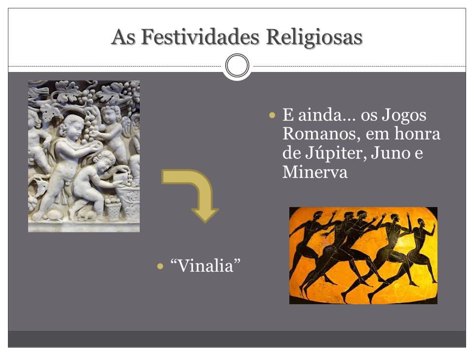 As Festividades Religiosas E ainda… os Jogos Romanos, em honra de Júpiter, Juno e Minerva Vinalia