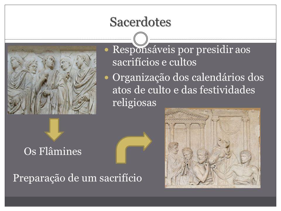 Sacerdotes Responsáveis por presidir aos sacrifícios e cultos Organização dos calendários dos atos de culto e das festividades religiosas Os Flâmines