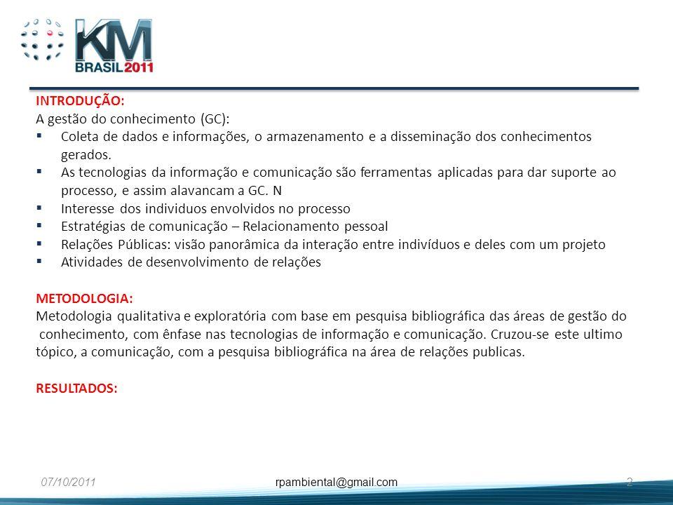 INTRODUÇÃO: A gestão do conhecimento (GC): Coleta de dados e informações, o armazenamento e a disseminação dos conhecimentos gerados. As tecnologias d