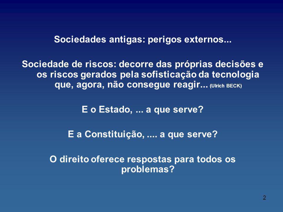 Sociedades antigas: perigos externos... Sociedade de riscos: decorre das próprias decisões e os riscos gerados pela sofisticação da tecnologia que, ag