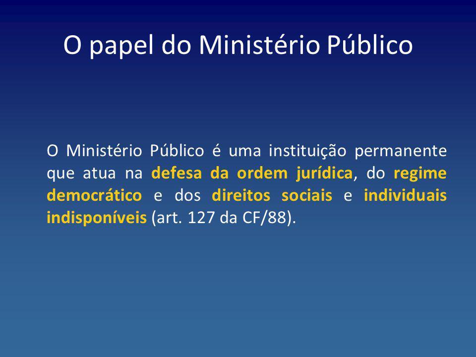 O papel do Ministério Público O Ministério Público é uma instituição permanente que atua na defesa da ordem jurídica, do regime democrático e dos dire