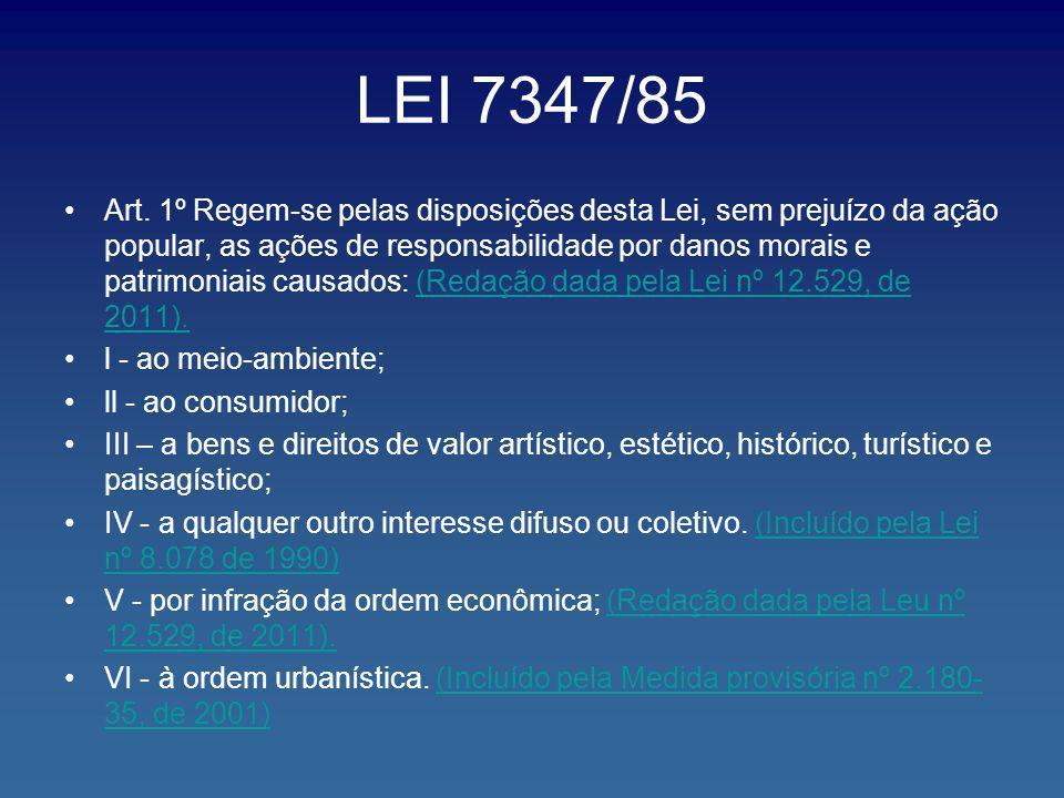 LEI 7347/85 Art. 1º Regem-se pelas disposições desta Lei, sem prejuízo da ação popular, as ações de responsabilidade por danos morais e patrimoniais c
