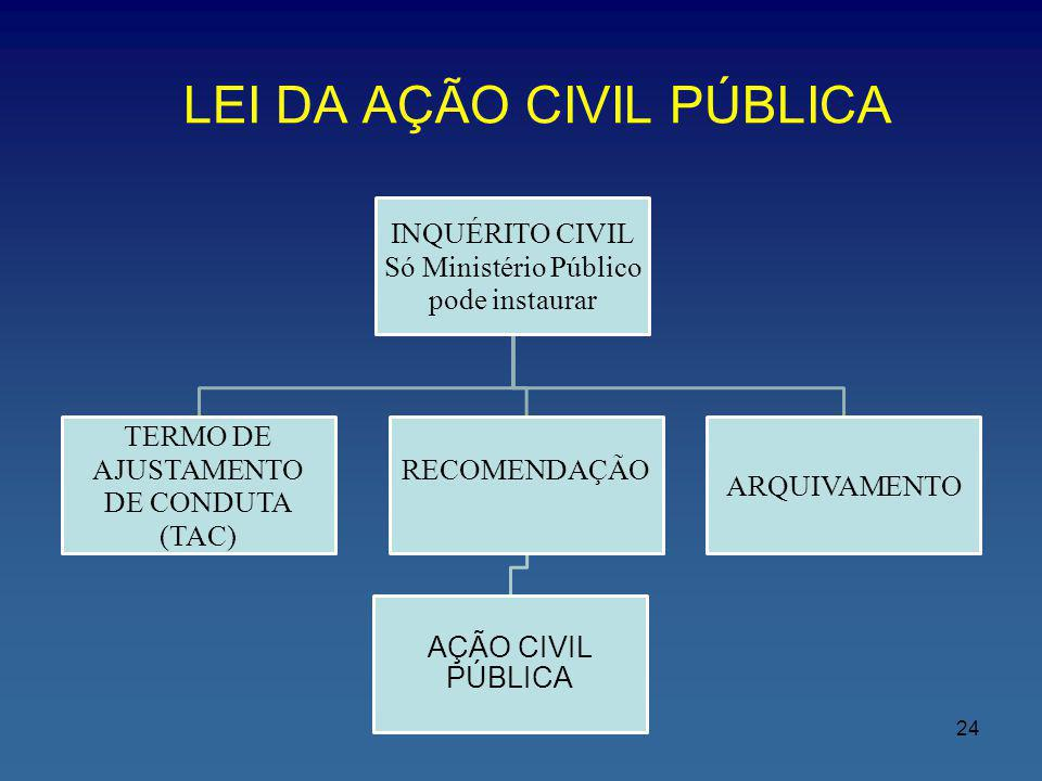 LEI DA AÇÃO CIVIL PÚBLICA INQUÉRITO CIVIL Só Ministério Público pode instaurar RECOMENDAÇÃO AÇÃO CIVIL PÚBLICA TERMO DE AJUSTAMENTO DE CONDUTA (TAC) A