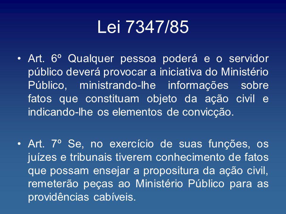 Lei 7347/85 Art. 6º Qualquer pessoa poderá e o servidor público deverá provocar a iniciativa do Ministério Público, ministrando-lhe informações sobre