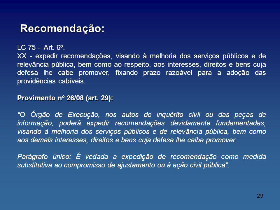 Recomendação: Recomendação: LC 75 - Art. 6º. XX - expedir recomendações, visando à melhoria dos serviços públicos e de relevância pública, bem como ao