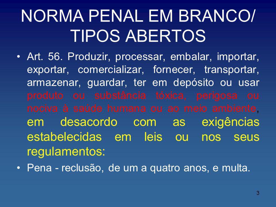 NORMA PENAL EM BRANCO/ TIPOS ABERTOS Art. 56. Produzir, processar, embalar, importar, exportar, comercializar, fornecer, transportar, armazenar, guard