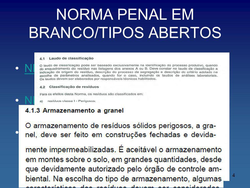 NORMA PENAL EM BRANCO/TIPOS ABERTOS NBR 10004 NBR 12235 LAUDO PRELIMINAR 4