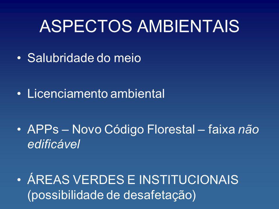 ASPECTOS AMBIENTAIS Salubridade do meio Licenciamento ambiental APPs – Novo Código Florestal – faixa não edificável ÁREAS VERDES E INSTITUCIONAIS (pos