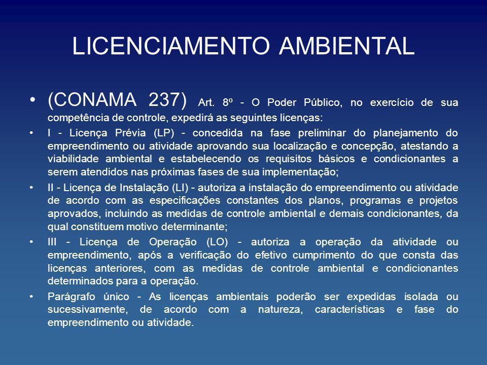 LICENCIAMENTO AMBIENTAL (CONAMA 237) Art. 8º - O Poder Público, no exercício de sua competência de controle, expedirá as seguintes licenças: I - Licen