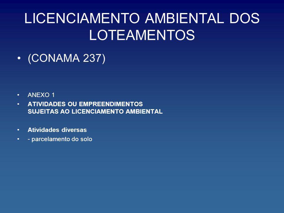 LICENCIAMENTO AMBIENTAL DOS LOTEAMENTOS (CONAMA 237) ANEXO 1 ATIVIDADES OU EMPREENDIMENTOS SUJEITAS AO LICENCIAMENTO AMBIENTAL Atividades diversas - p
