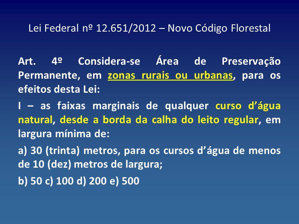 Lei Federal nº 12.651/2012 – Novo Código Florestal Art. 4º Considera-se Área de Preservação Permanente, em zonas rurais ou urbanas, para os efeitos de
