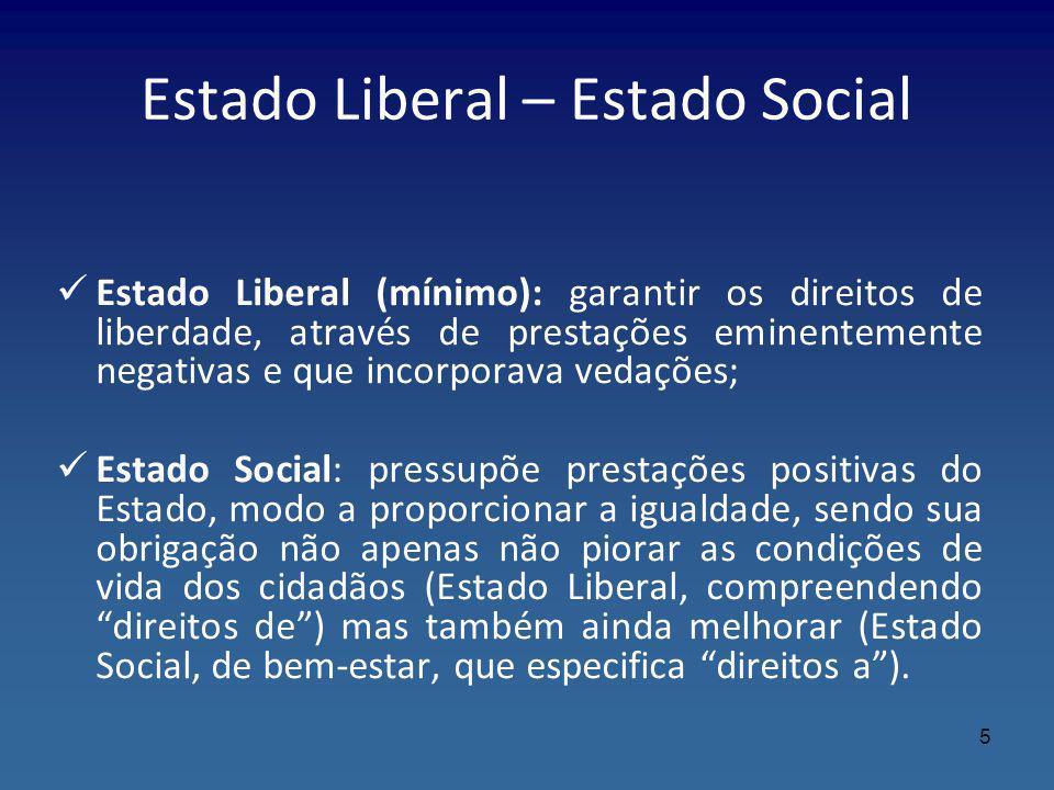 Estado Liberal – Estado Social Estado Liberal (mínimo): garantir os direitos de liberdade, através de prestações eminentemente negativas e que incorpo