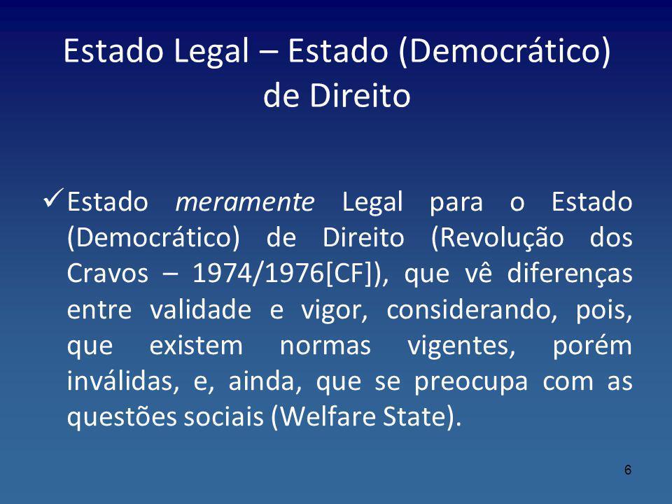 Estado Legal – Estado (Democrático) de Direito Estado meramente Legal para o Estado (Democrático) de Direito (Revolução dos Cravos – 1974/1976[CF]), q