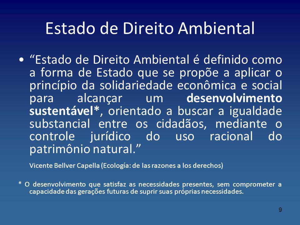 Estado de Direito Ambiental Estado de Direito Ambiental é definido como a forma de Estado que se propõe a aplicar o princípio da solidariedade econômi