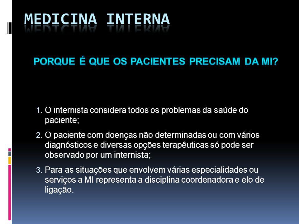 1. O internista considera todos os problemas da saúde do paciente; 2.