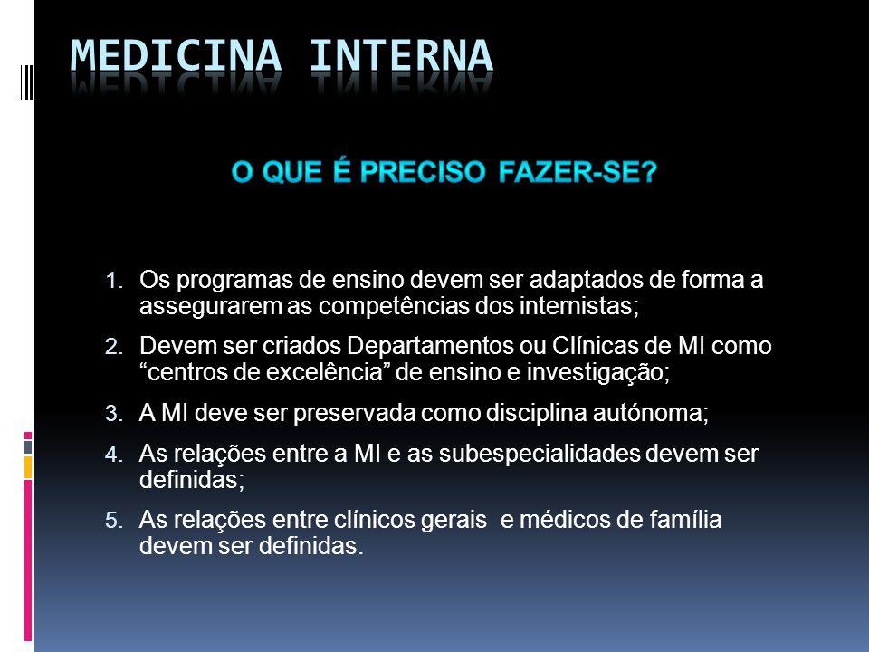 1. Os programas de ensino devem ser adaptados de forma a assegurarem as competências dos internistas; 2. Devem ser criados Departamentos ou Clínicas d