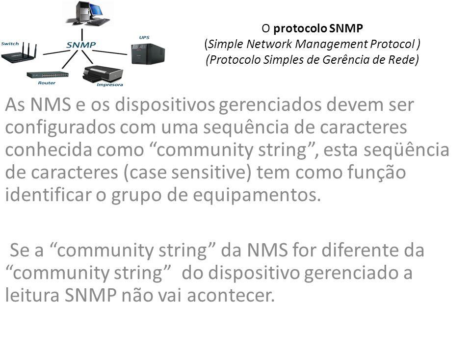 O protocolo SNMP (Simple Network Management Protocol ) (Protocolo Simples de Gerência de Rede) As NMS e os dispositivos gerenciados devem ser configurados com uma sequência de caracteres conhecida como community string, esta seqüência de caracteres (case sensitive) tem como função identificar o grupo de equipamentos.
