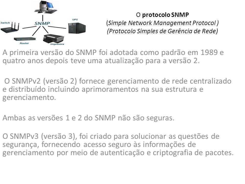 O protocolo SNMP (Simple Network Management Protocol ) (Protocolo Simples de Gerência de Rede) A primeira versão do SNMP foi adotada como padrão em 1989 e quatro anos depois teve uma atualização para a versão 2.