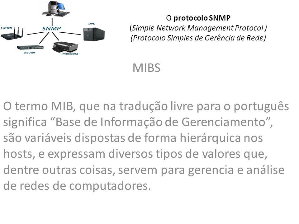 O protocolo SNMP (Simple Network Management Protocol ) (Protocolo Simples de Gerência de Rede) MIBS O termo MIB, que na tradução livre para o português significa Base de Informação de Gerenciamento, são variáveis dispostas de forma hierárquica nos hosts, e expressam diversos tipos de valores que, dentre outras coisas, servem para gerencia e análise de redes de computadores.