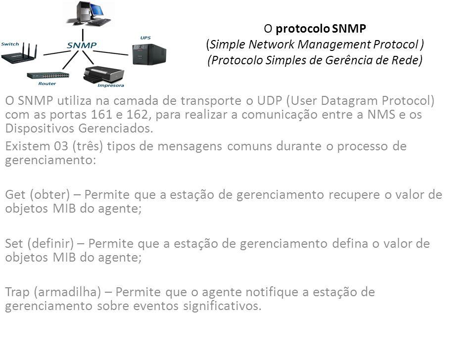 O protocolo SNMP (Simple Network Management Protocol ) (Protocolo Simples de Gerência de Rede) O SNMP utiliza na camada de transporte o UDP (User Datagram Protocol) com as portas 161 e 162, para realizar a comunicação entre a NMS e os Dispositivos Gerenciados.