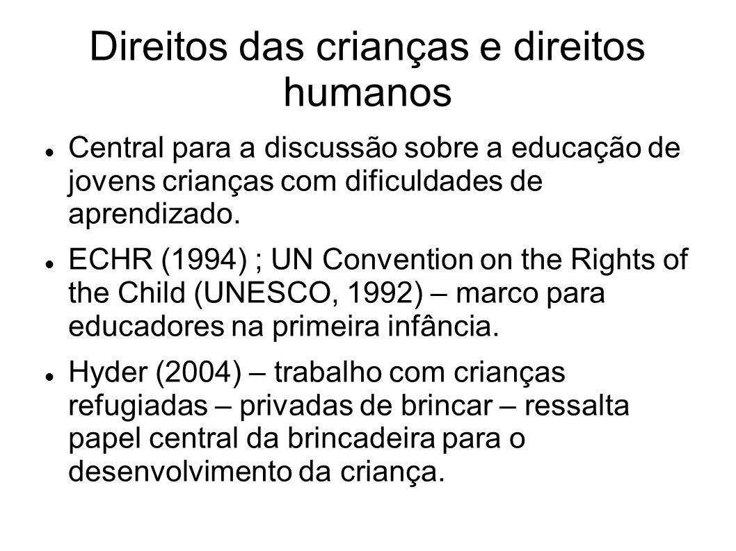 Direitos das crianças e direitos humanos Central para a discussão sobre a educação de jovens crianças com dificuldades de aprendizado.