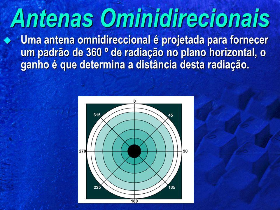 Antenas Ominidirecionais Uma antena omnidireccional é projetada para fornecer um padrão de 360 º de radiação no plano horizontal, o ganho é que determina a distância desta radiação.