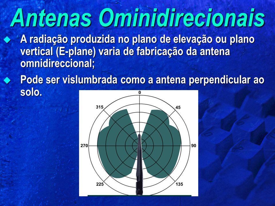 Antenas Ominidirecionais A radiação produzida no plano de elevação ou plano vertical (E-plane) varia de fabricação da antena omnidireccional; A radiação produzida no plano de elevação ou plano vertical (E-plane) varia de fabricação da antena omnidireccional; Pode ser vislumbrada como a antena perpendicular ao solo.
