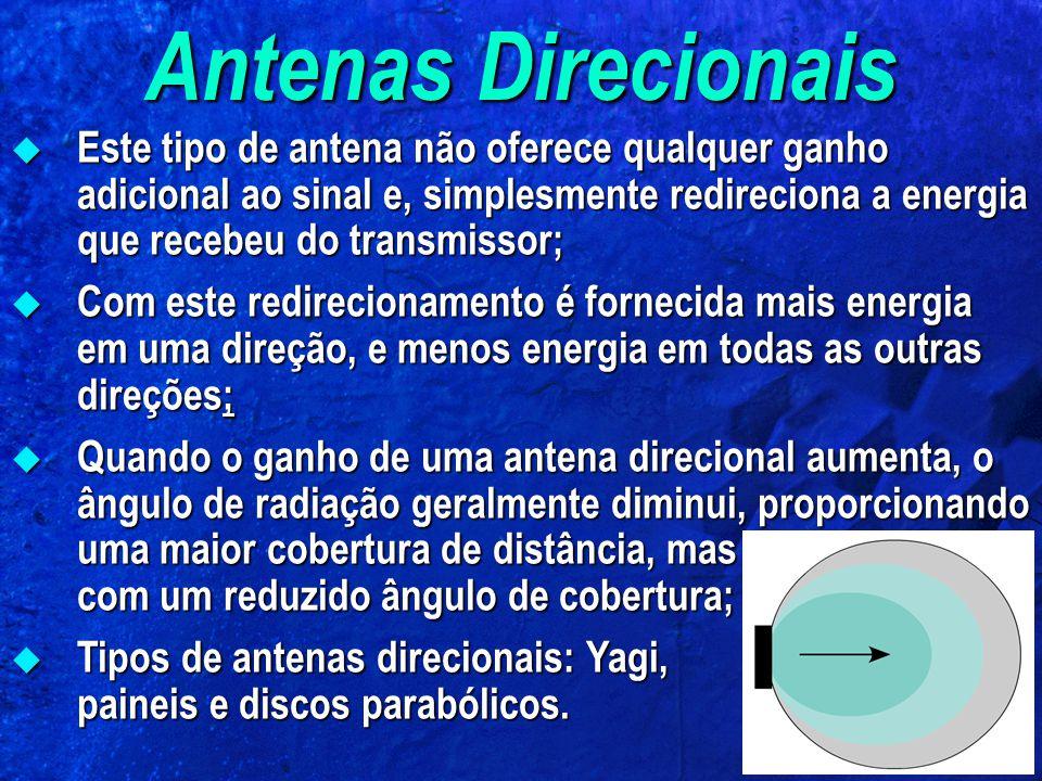 Antenas Direcionais Este tipo de antena não oferece qualquer ganho adicional ao sinal e, simplesmente redireciona a energia que recebeu do transmissor; Este tipo de antena não oferece qualquer ganho adicional ao sinal e, simplesmente redireciona a energia que recebeu do transmissor; Com este redirecionamento é fornecida mais energia em uma direção, e menos energia em todas as outras direções; Com este redirecionamento é fornecida mais energia em uma direção, e menos energia em todas as outras direções; Quando o ganho de uma antena direcional aumenta, o ângulo de radiação geralmente diminui, proporcionando uma maior cobertura de distância, mas com um reduzido ângulo de cobertura; Quando o ganho de uma antena direcional aumenta, o ângulo de radiação geralmente diminui, proporcionando uma maior cobertura de distância, mas com um reduzido ângulo de cobertura; Tipos de antenas direcionais: Yagi, paineis e discos parabólicos.